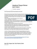 Gaya Kepemimpinan Empat Sistem Manajemen Dari Likert