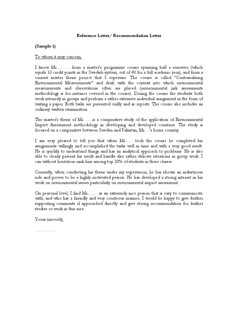 Samples of Reference Letter Re mendation Letter PDF May 2 2008 7