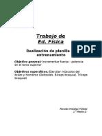 """Informe Plantilla De Entrenamiento """"Fuerza En Torso Superio"""""""