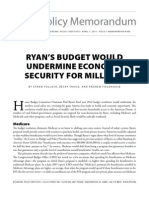 2011.04.07. EPI. Ryan's Budget Would Undermine Economic Security for Millions