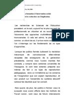 La formation à l'intervention sociale et les recherches sur l'implication