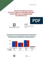 Encuesta GEA-ISA y resultado electoral en Michoacán, 2007