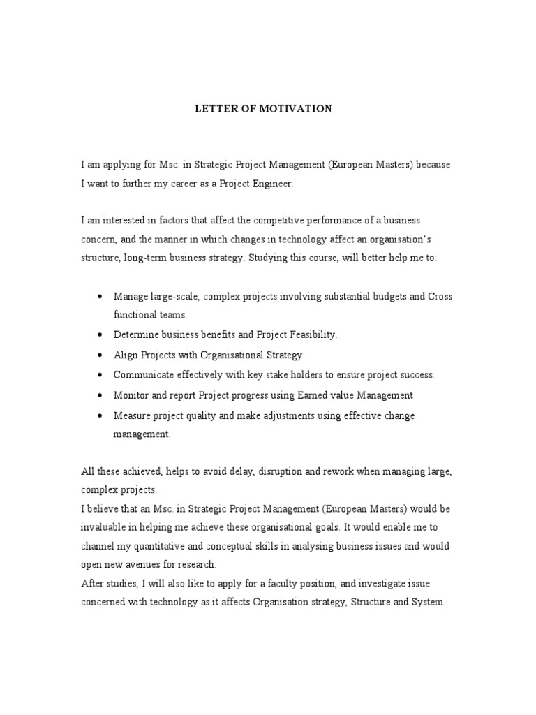 Letter of motivation project management strategic management spiritdancerdesigns Choice Image
