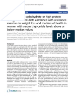 Effects of high carbohydrate or high protein energy-restricted diets combined with resistance exercise on weight loss and markers of health in women with serum triglyceride levels above or below median values