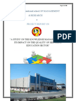 A Study on the Knowledge Management and Its Impact on the Quality of Service in Education Sector