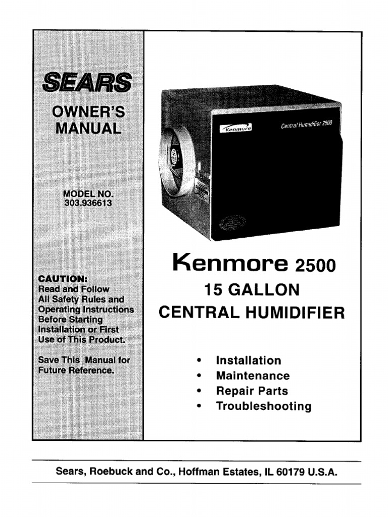 Kenmore 2500 Central Humidifier Duct Flow Valve Ceiling Fan Wiring Diagram Sears Roebuck