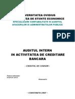 Auditul Intern in Activitatea de Creditare Bancara