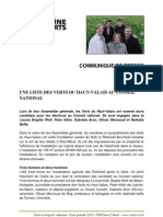Communiqué de presse des Verts haut-valaisans - nationales 2011