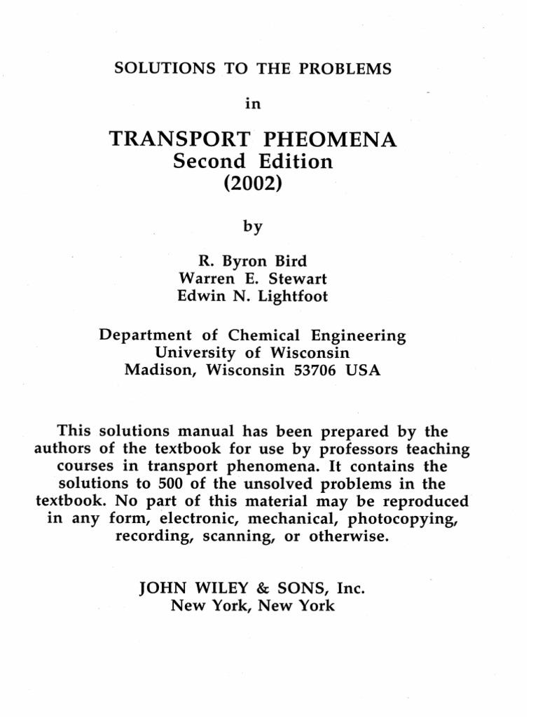 ... reaction fogler engineering elements pdf download chemical by Bird  Lightfoot Stewart Ed (Solution Phenomena Manual ...