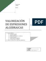 DOCUMENTO 1 VALORIZACIÓN DE EXPRESIONES ALGEBRAICAS