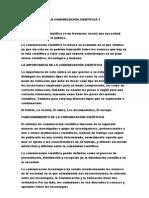 IMPORTANCIA DE LA COMUNICACIÓN CIENTÍFICA Y