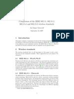 Comparison Ieee 802 Standards