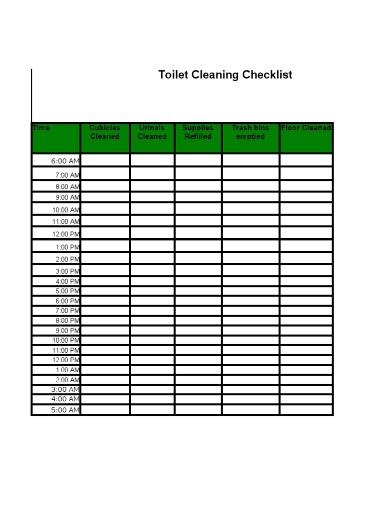 . Toilet Cleaning Checklist 2