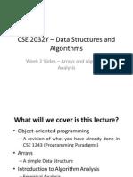 CSE 2032Y - Week 2 - Arrays and AlgoAnalysis