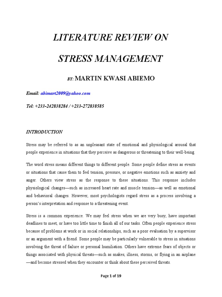 Master thesis on stress management