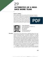 Ten Characteristics of a High Performance Work Team