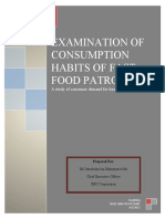 EXAMINATION OF CONSUMPTION HABITS OF FAST FOOD PATRONS IN SINGAPORE
