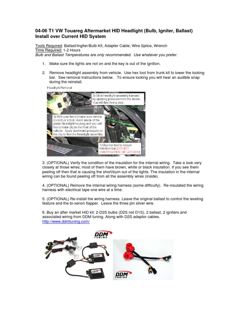 04 06 T1 Vw Touareg Hid Conversion Diy Headlamp Electrical Wiring Creating An Ballast With Constant Lamp Power Control