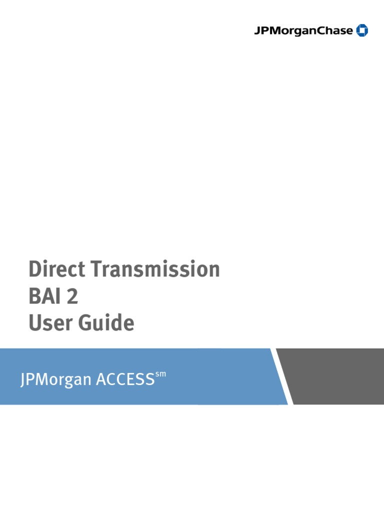 Jpm Access Bai2 Userguide | Debits And Credits | File Format