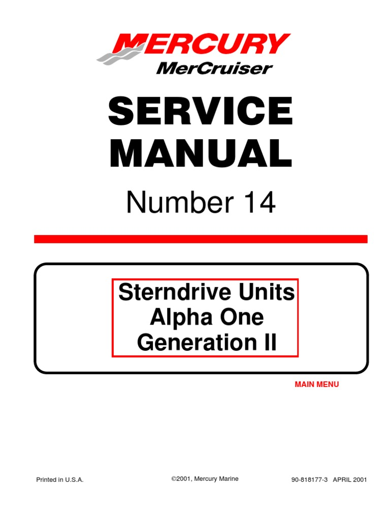 Mercruiser Service Manual #14 Alpha I Gen II Outdrives 1991-Newer | Bearing  (Mechanical) | Propeller