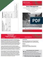 Horse Management Semester Course – Fall 2011