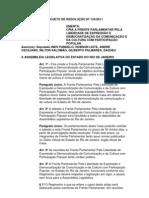 Projeto de Resolução nº 134/2011 - Cria Frente Parlamentar pela liberdade de expressão