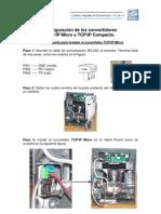 Pasos para configurar los convertidores TCP-IP Micro y TCP-IP Compacto
