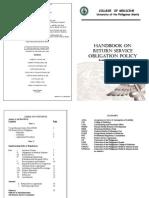 Handbook on Return Service Obligation Policy