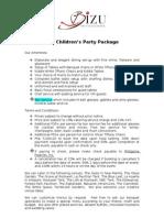 BIZU Childrens Party Menu