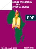 African Journal of Education and Developmental Studies . Vol 5., No 1, July, 2008 eJournal