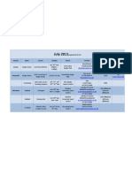 Sports Course Timetable July 2011