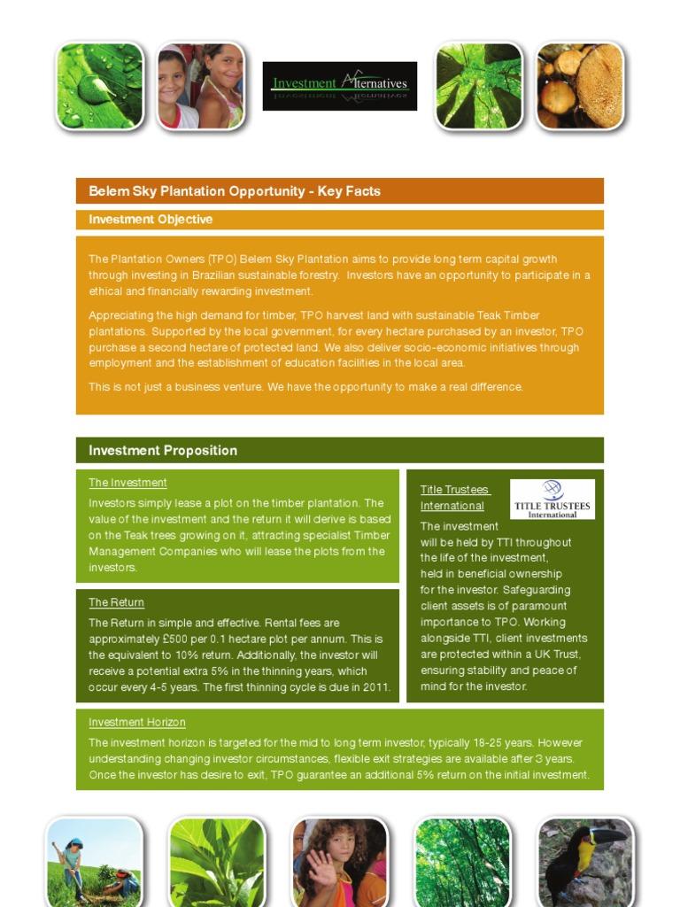 Investment Alternatives KeyFacts | Investor | Plantation