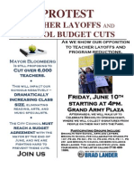 Flyer for the Rally to Protest Teacher Layoffs and School Budget Cuts
