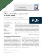 Defining Ecosystem Services