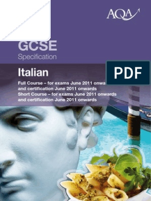 L Insalata Sotto Il Cuscino Pdf.Aqa Gcse Italian Specicification Fluency Reading Comprehension