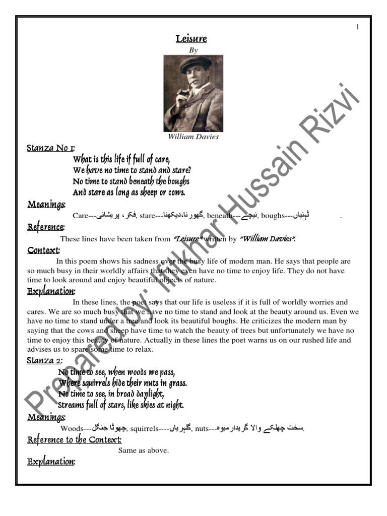 Notes Punjab University Lahore B A English Explanation of Poems