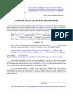 Ohio Affidavit Notice Non-Abandonment