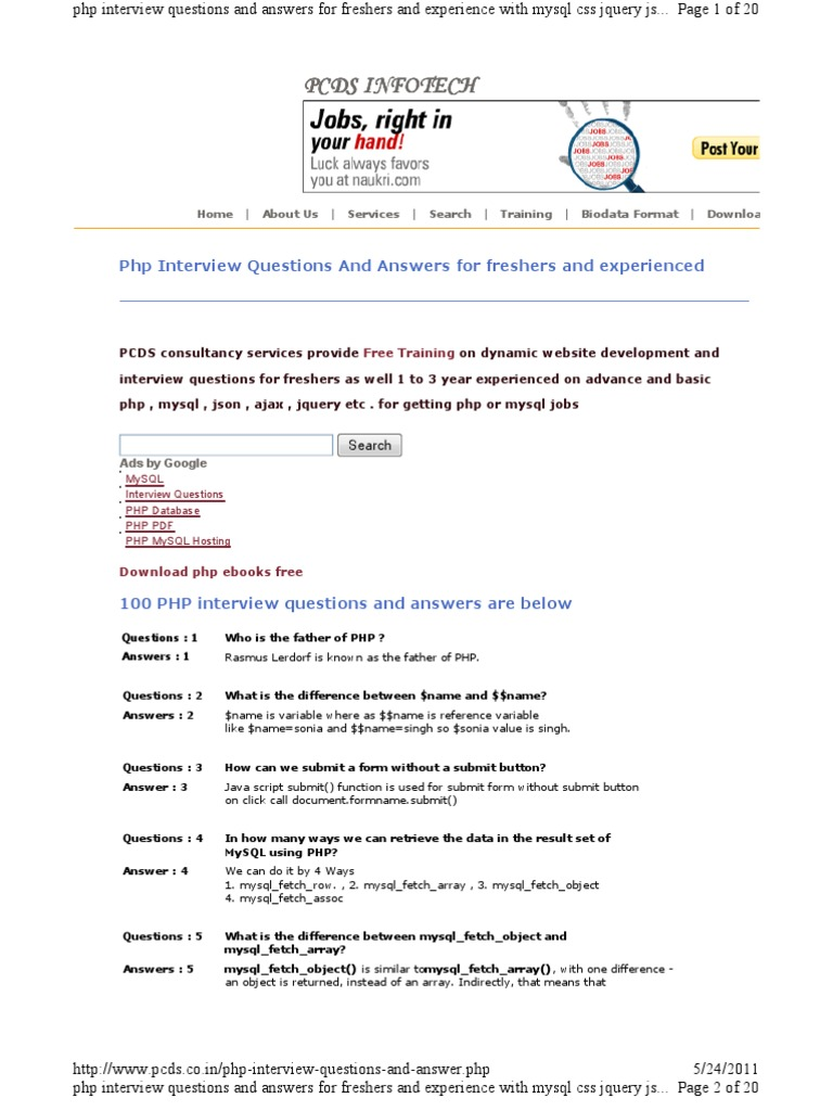 Interview answers php freshers questions and pdf for basic