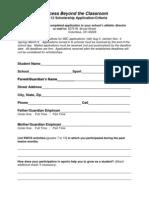 SBC Scholarship Application 2011-12