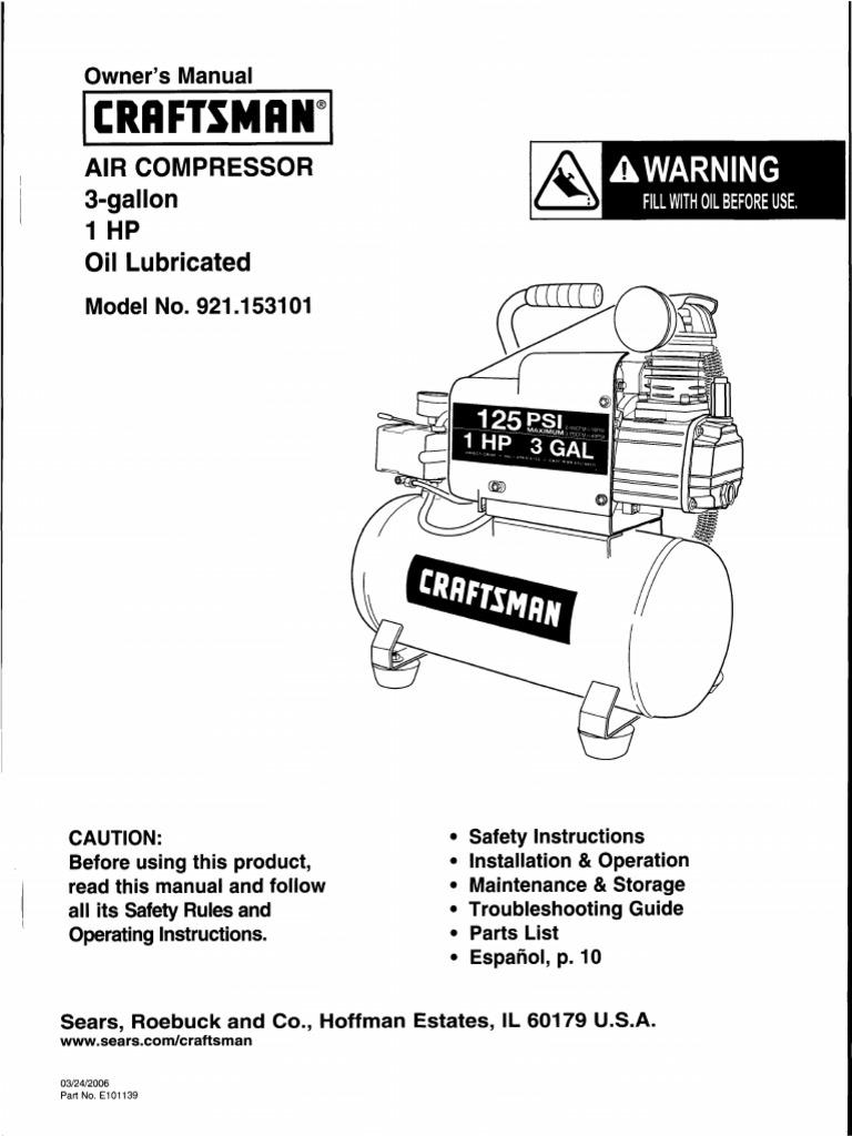 craftsman air compressor manual valve electrical connector rh scribd com craftsman air compressor manual download craftsman air compressor manuals online