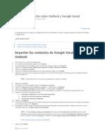 Transferir Contactos Entre Outlook y Google Gmail