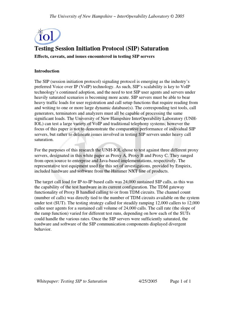 Sip Whitepaper | Session Initiation Protocol | Proxy Server