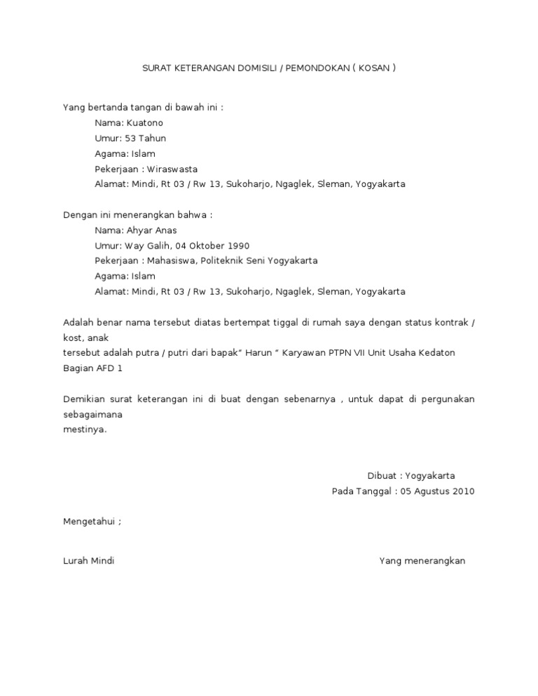 Contoh Surat Domisili Tempat Tinggal Doc