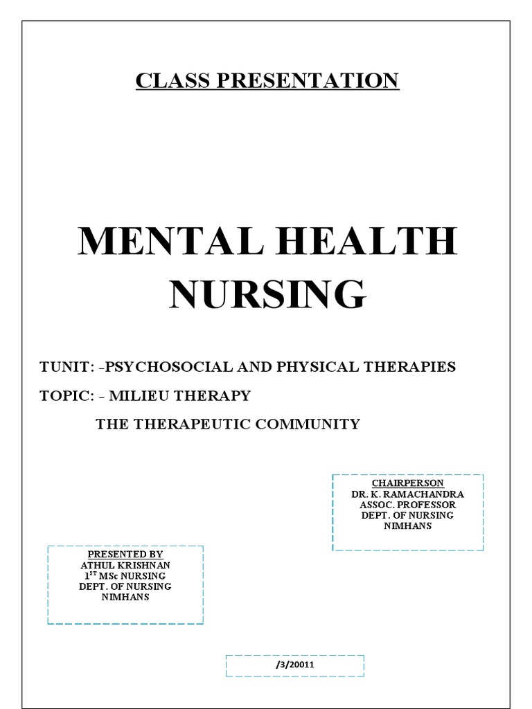 Milieu Therapy   Therapy   Psychiatric And Mental Health ...