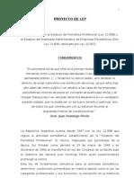 PROYECTO DE LEY Adhesión a Estatutos de Prensa