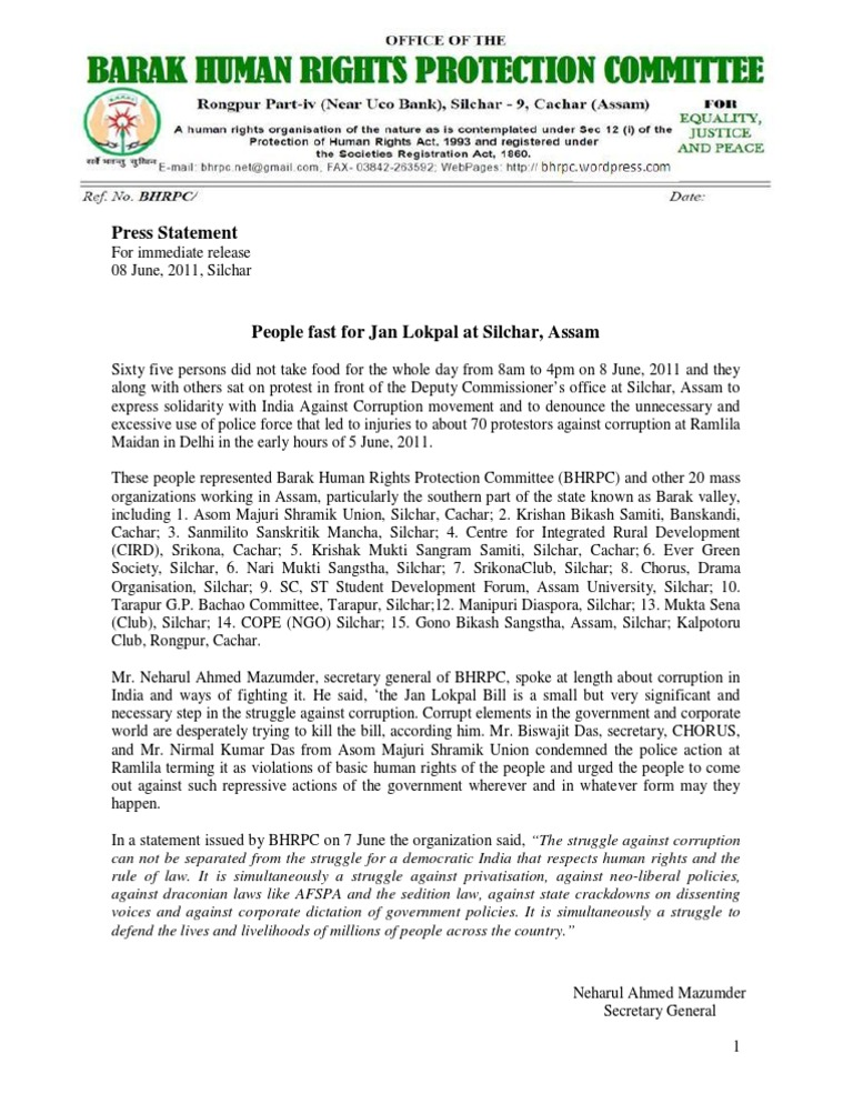 People Fast for Jan Lokpal at Silchar, Assam | Politics Of