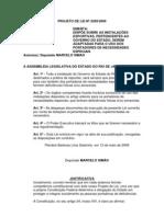 Projeto de Lei Nº 2269/2009 - Dispõe sobre as instalações esportivas adaptados para o uso de portadores de necessidades especiais