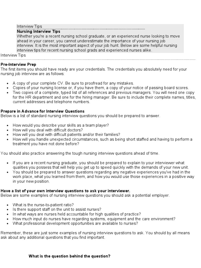 Nurse Job Interview | Nursing | Question