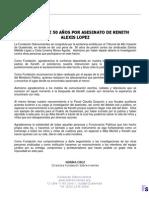 Sentencia de 50 años por el asesinato Keneth Alexis López Agustín