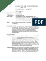 ADJ 111 Org Admin Syllabus Spring 2009